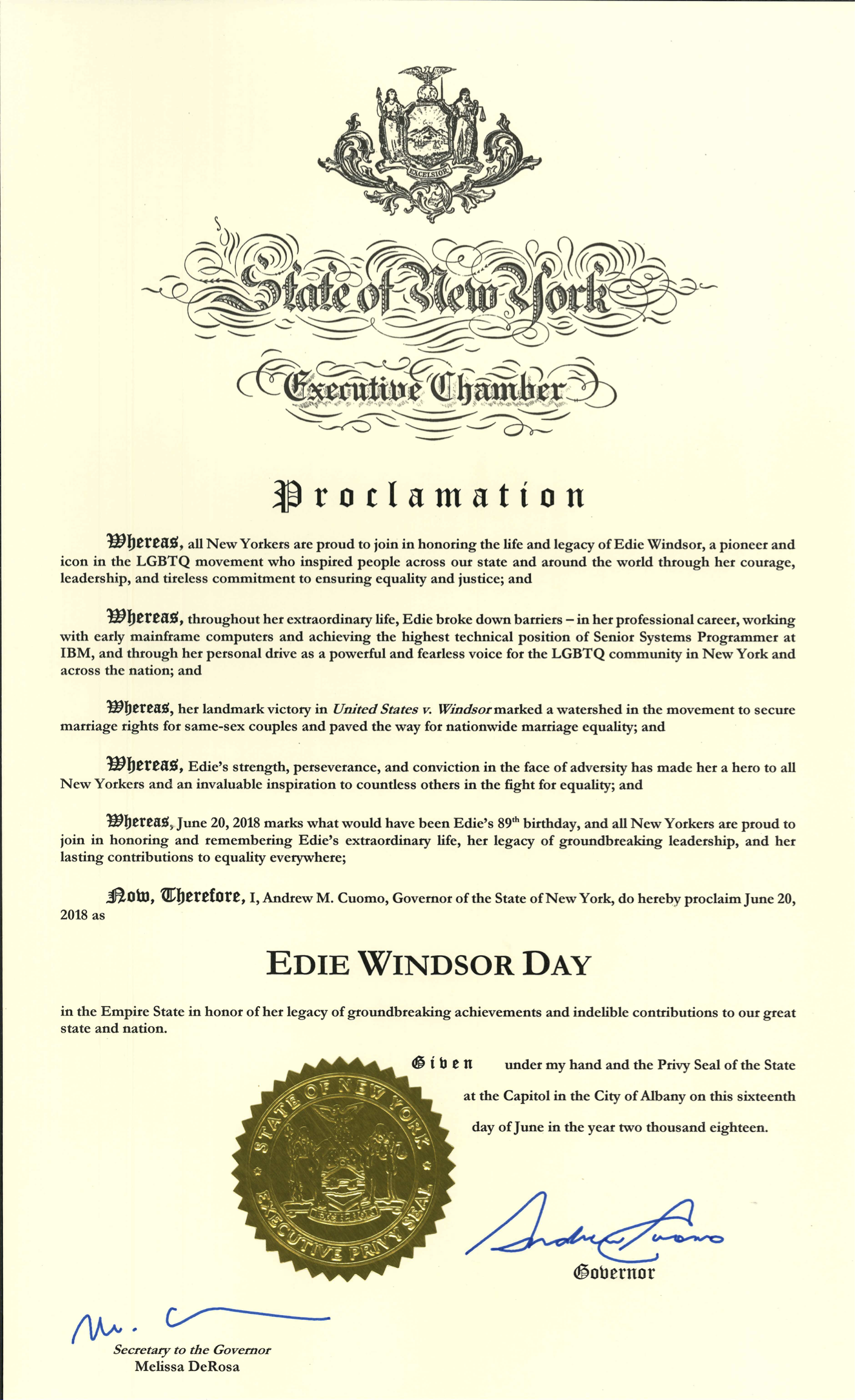 Edie Windsor Day Proclamation 2018